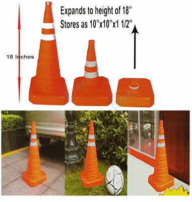 "18"" Pop Up Collapsible Portable Safety Cone Football Traffic Posts Driving Cones"
