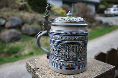 Antique HUGE MERKELBACH & WICK STEIN BEER DWARF WITH MONKEY c1895