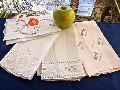 Lot of 4 Lovely Vintage Fine Linen Guest Towels Variety Hand Whitework