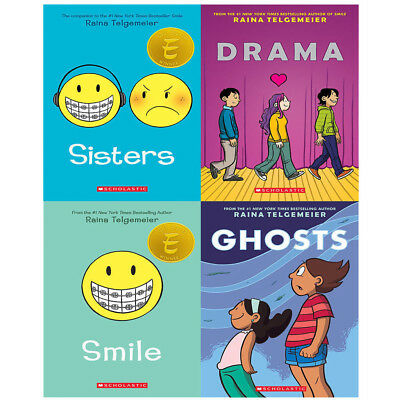 Raina Telgemeier 4 Books Collection Set Drama Smile Ghosts Sisters Pack NEWBRAND
