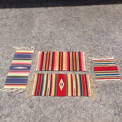 4 Saltillo Samplers/Throws - Early 20th Century