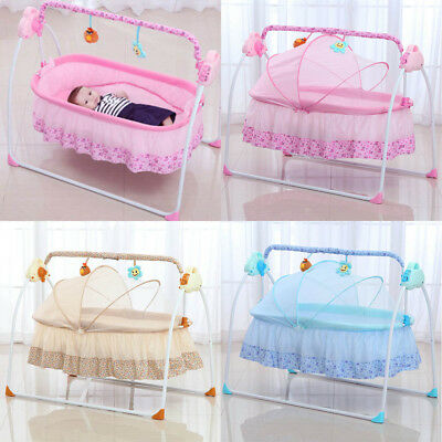 Big Space Electric Baby Crib Cradle Infant Rocker Auto-Swing Sleep Bed Cots