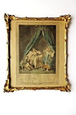 "Antique 18th Century Carved Wood French Frame Gilt + Gesso  ""Le Lever"" Print"