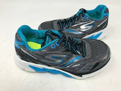 NEW! Skechers Youth Boy's Go Run 4 Shoes Black/Grey/Blue/White #95695L 439F sz