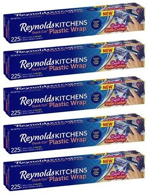 Lot of 5 Reynolds Kitchens Quick Cut Plastic Wrap Built-in Slide Cutter 225 sf