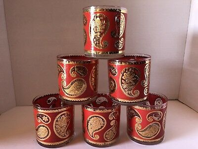 6 Vintage Culver Low Ball Glasses Red and 22k Gold Paisley