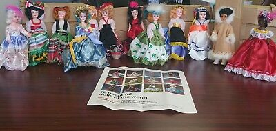 """Antique 1960's Arco Gas Station Complete Set of 12-7.5"""" Dolls of the World RARE!"""