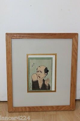 SIGNED RARE ANTIQUE JAPANESE WOODBLOCK RARE UGLY FACE MAN c 1850s