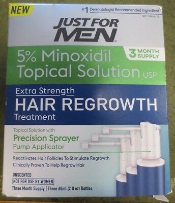 Just For Men Hair Regrowth Treatment, 3 Month Supply, 6 Fluid Ounce New ex.10/19