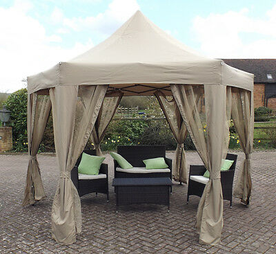 HORWOOD LUXURY EASYUP POP UP FOLDING 6 SIDED GAZEBO 3.6 x 3.1  &  NET CURTAINS