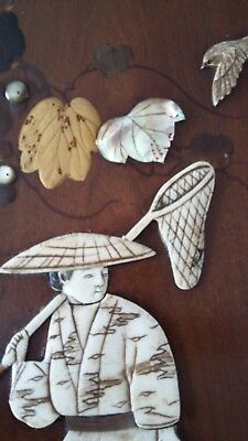 mother of pearl,cow bone,plaque,panel.shibayama hand painted japanese picture