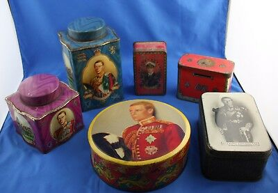 Lot Of 6 Rare Vintage King Edward VIII / Prince Of Wales Antique Royal Tea Tins