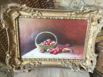 Antique 1800's signed oil on canvas of plums & eggplant w basket in gesso frame