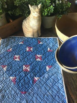 Gorgeous Farmhouse Blues! Antique c1880 QUILT TABLE RUNNER Teeny Pieces 34 1/2 ""