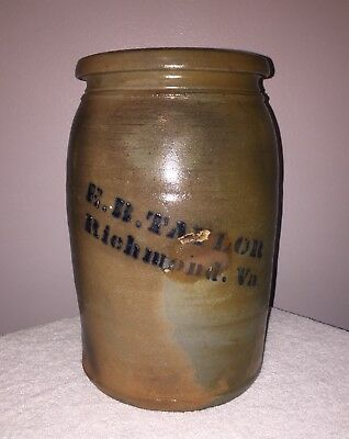 Antique Decorated Stoneware Crock E.B. Taylor Richmond Va. Virginia
