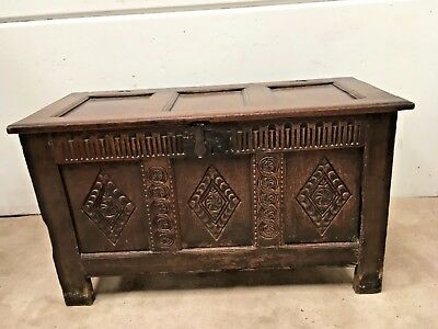 stunning  Antique Very early Beautiful Carved  Oak Coffer