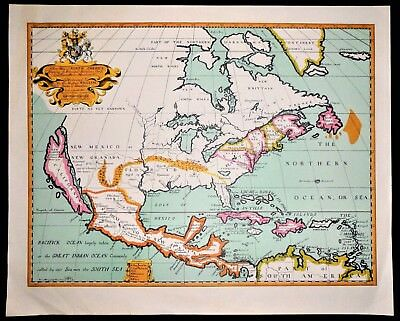 Vintage Antique Colored Print Edward Wells 1700 A New Map of North America