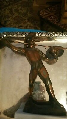 Bronze Statue on Marble Roman Soldier Spartan Warrior with Shield and Spear