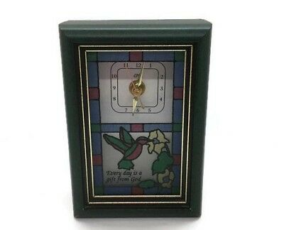 """Mantle Clock """" Each Moment is a Gift from God"""" Small Stained Glass Hummingbird"""