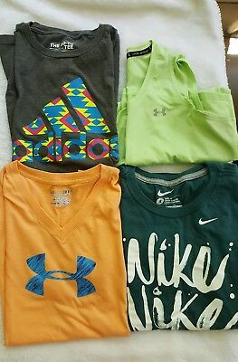 Women's Under Armour Nike Adidas Lot of 4 Workout Athletic Tops Size Small