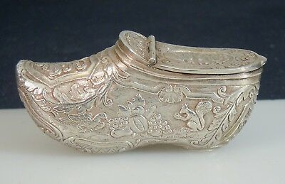 Antique Continental Figural Silver Shoe Snuff Box