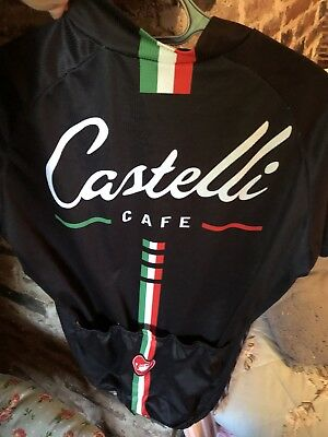 MENS BLACK CASTELLI CAFE cycling jersey top size L Large - £21.00 ... 8df6e45b1