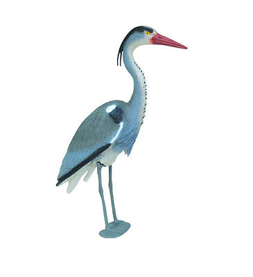 Realistic Blue Heron Decoy Deterrent with Legs & Stake To Help Protect Fishponds