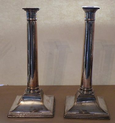 sbx PAIR 18TH C GEORGE III  SHEFFIELD SILVERPLATE CANDLESTICKS, neoclassical