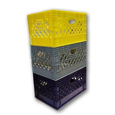 3 X Blue Or Any Other Color You Want Rectangular Milk Crate Rigid Plastic