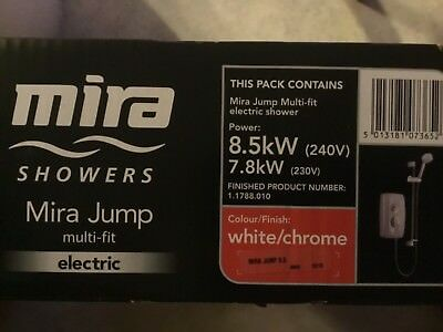 Mira Jump Electric Shower 9.5kW Power Shower Clearscale White /& Chrome 1.1788.01