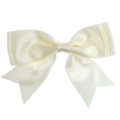 Pack of 5 - Cream / Ivory Large 25mm Satin Ribbon Ready Made Craft Double Bows