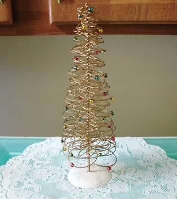 """Gold Wire Spiral Decorated Table Top-Christmas-Village-Mantel Tree 11.5"""""""