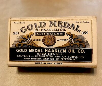 Vintage Gold Medal Haarlem Oil 20 Capsule Box with Pamphlets and Guarantee