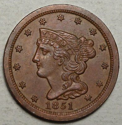 1851 Half Cent, Original Choice Uncirculated Type Coin, Nice!   0626-05