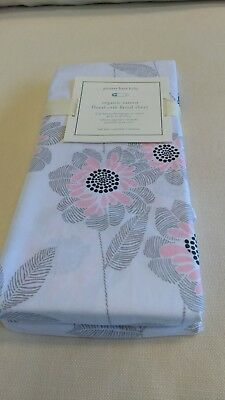 NWT Pottery Barn Kids Organic Sateen floral crib fitted sheet nursery was $32