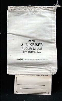 A J Keiser Flour Mills Sample Cloth Bag With Info Tag Mt Olive Ill Old Stock