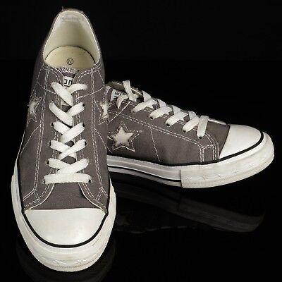Womens CONVERSE One Star Gray Canvas Lace Up Low Top Sneakers Size 7.5 Shoes