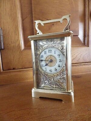 French Striking Carriage Clock Fully Restored Amazing Silvered Flower Mask 1890s