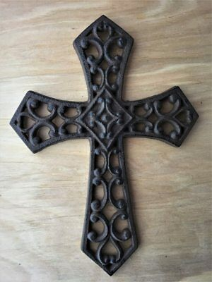 Decorative Antique Style Rustic Brown Finish Cast Iron Wall Cross