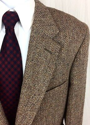Vintage Harris Tweed Men's 46R 2 Button Herringbone Blazer Sport Coat Jacket