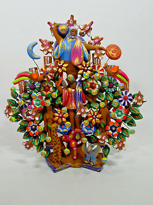 big TREE OF LIFE mexican  handmade large colorful folk art clay pottery