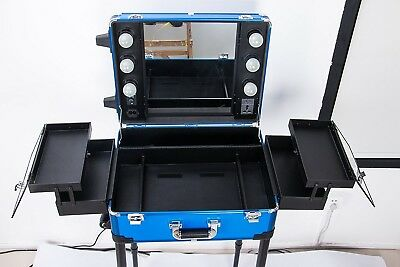 Large Makeup Case Professional Artist Studio Cosmetic Train Table With Legs New