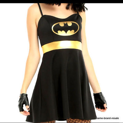 NWT BATMAN Womens DRESS Cosplay Halloween COSTUME Black Gold Hot Topic, size S