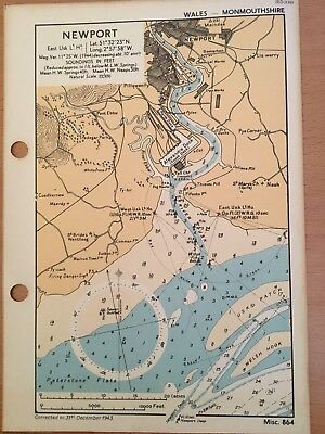 WWII  1943 chart map newport usk Monmouthshire Bristol Channel