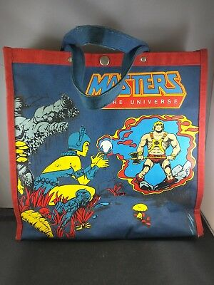 vtg 1984 MOTU CANVAS TOTE BAG used cloth bag HE-MAN masters of the universe