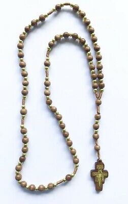 San Damiano / St Saint Francis Rosary - Corded Brown Wood / Wooden Beads