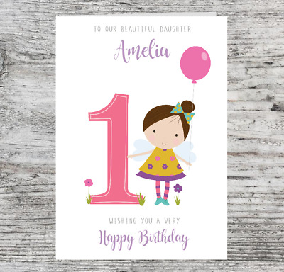Personalised 1st Birthday Card Fairy Daughter Granddaughter Niece First