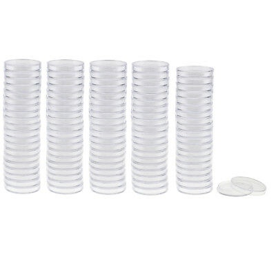 100pcs Plastic Applied Clear Round Cases Coin Storage Capsules Holders -37mm