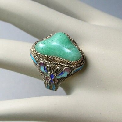 Vintage Chinese SILVER FILIGREE RING Enamel BUTTERFLY Moth JADE Cabochon