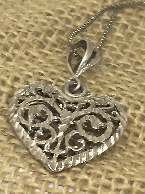 Vtg Sterling Silver Etched Heart Pendant Necklace 5g 28-16